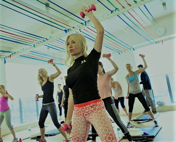 Tracy Anderson, center, teacher a fitness class in New York.